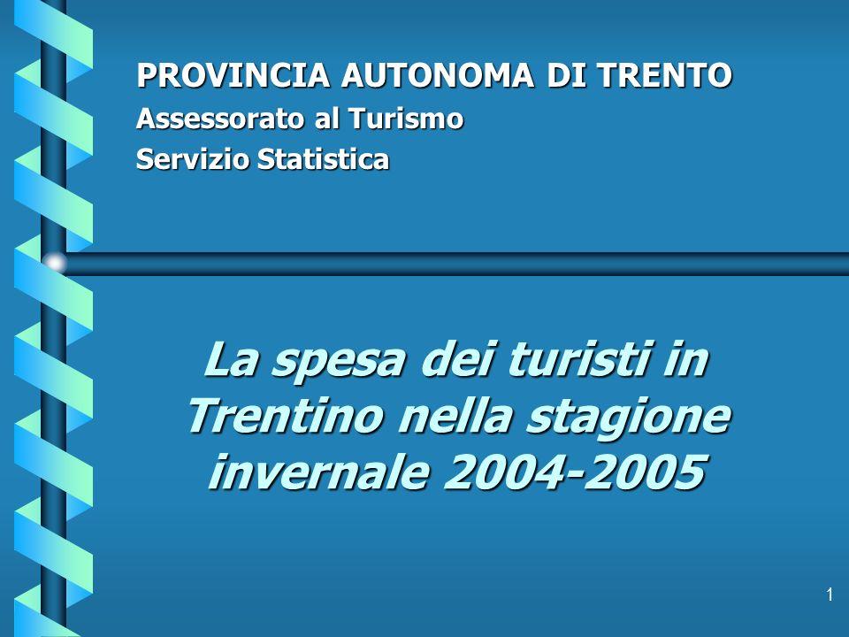 1 La spesa dei turisti in Trentino nella stagione invernale 2004-2005 PROVINCIA AUTONOMA DI TRENTO Assessorato al Turismo Servizio Statistica