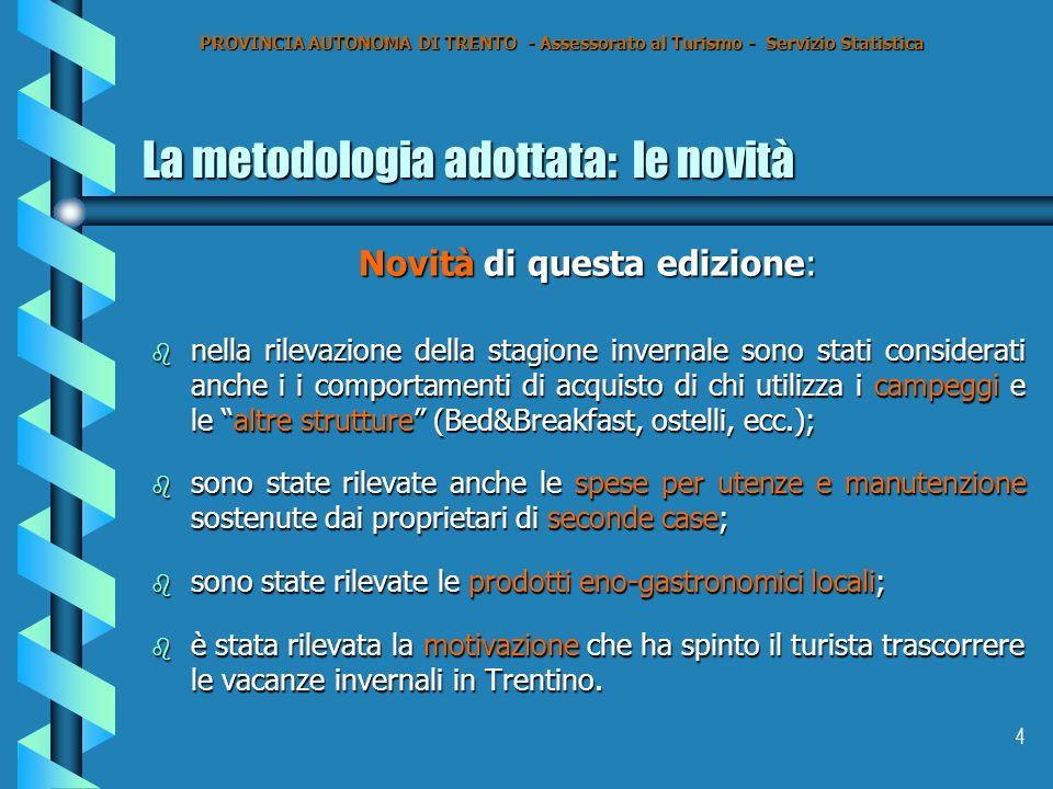 4 La metodologia adottata: le novità Novità di questa edizione: b nella rilevazione della stagione invernale sono stati considerati anche i i comporta