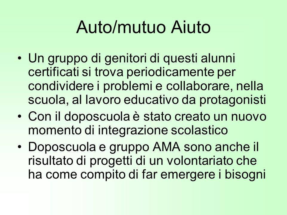 Auto/mutuo Aiuto Un gruppo di genitori di questi alunni certificati si trova periodicamente per condividere i problemi e collaborare, nella scuola, al