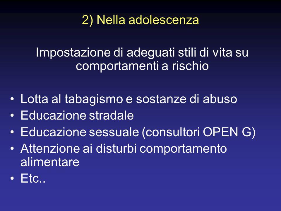 2) Nella adolescenza Impostazione di adeguati stili di vita su comportamenti a rischio Lotta al tabagismo e sostanze di abuso Educazione stradale Educ