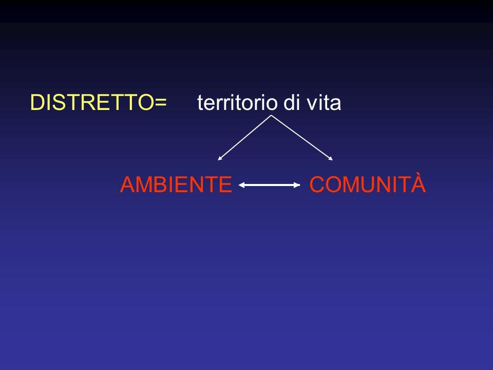 DISTRETTO= territorio di vita AMBIENTECOMUNITÀ
