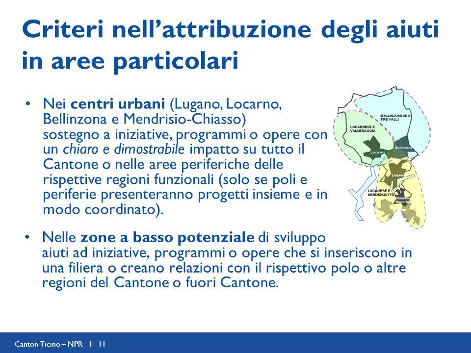 Canton Ticino – NPR I 11 Criteri nellattribuzione degli aiuti in aree particolari Nelle zone a basso potenziale di sviluppo aiuti ad iniziative, programmi o opere che si inseriscono in una filiera o creano relazioni con il rispettivo polo o altre regioni del Cantone o fuori Cantone.