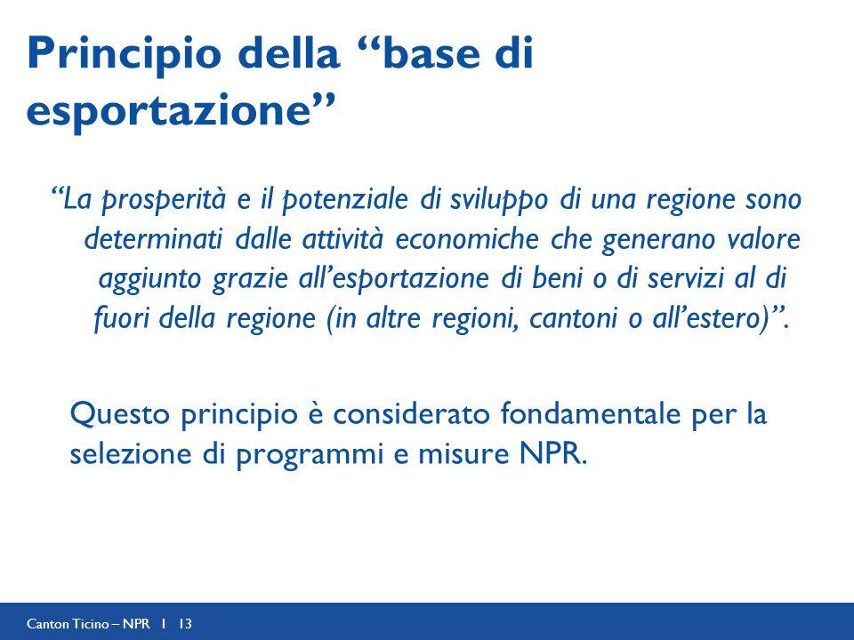 Canton Ticino – NPR I 13 Principio della base di esportazione La prosperità e il potenziale di sviluppo di una regione sono determinati dalle attività economiche che generano valore aggiunto grazie allesportazione di beni o di servizi al di fuori della regione (in altre regioni, cantoni o allestero).