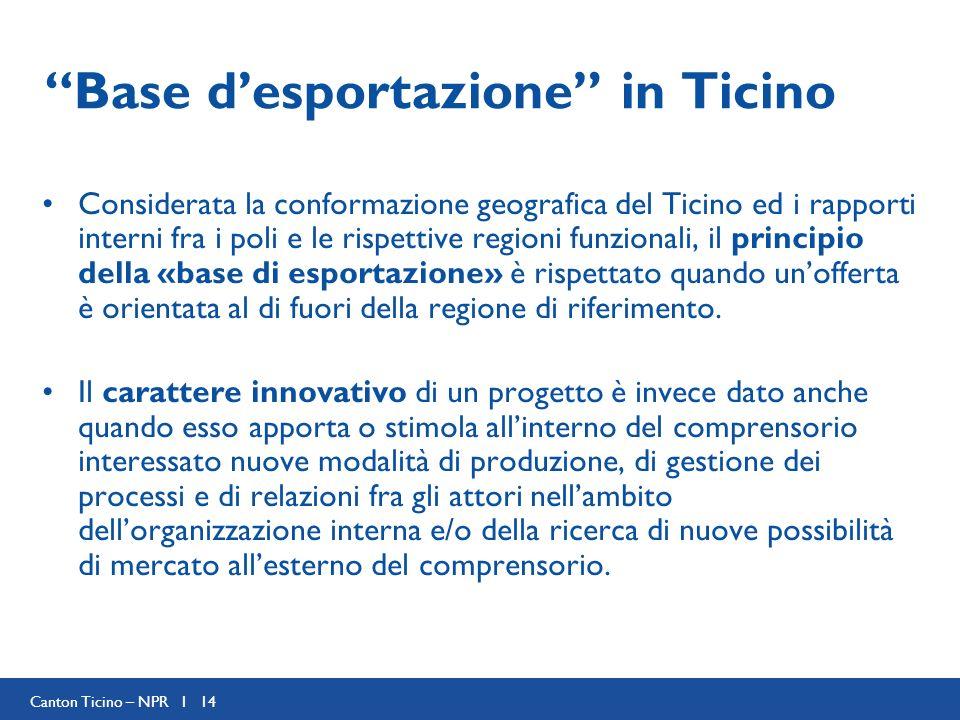 Canton Ticino – NPR I 14 Base desportazione in Ticino Considerata la conformazione geografica del Ticino ed i rapporti interni fra i poli e le rispettive regioni funzionali, il principio della «base di esportazione» è rispettato quando unofferta è orientata al di fuori della regione di riferimento.