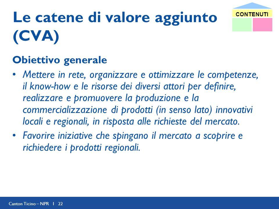 Canton Ticino – NPR I 22 Le catene di valore aggiunto (CVA) Obiettivo generale Mettere in rete, organizzare e ottimizzare le competenze, il know-how e