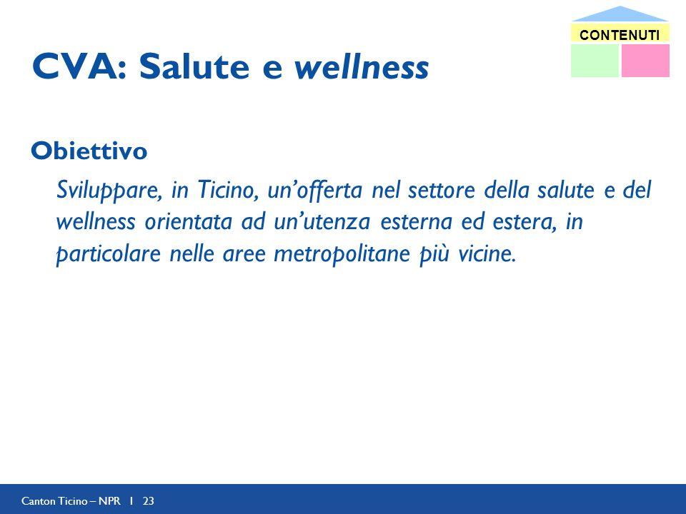 Canton Ticino – NPR I 23 CVA: Salute e wellness Obiettivo Sviluppare, in Ticino, unofferta nel settore della salute e del wellness orientata ad unutenza esterna ed estera, in particolare nelle aree metropolitane più vicine.