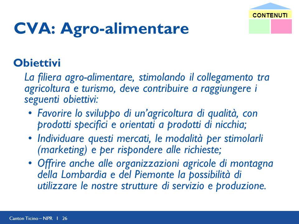 Canton Ticino – NPR I 26 CVA: Agro-alimentare Obiettivi La filiera agro-alimentare, stimolando il collegamento tra agricoltura e turismo, deve contrib