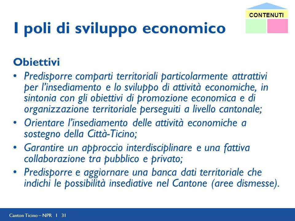 Canton Ticino – NPR I 31 I poli di sviluppo economico Obiettivi Predisporre comparti territoriali particolarmente attrattivi per linsediamento e lo sv