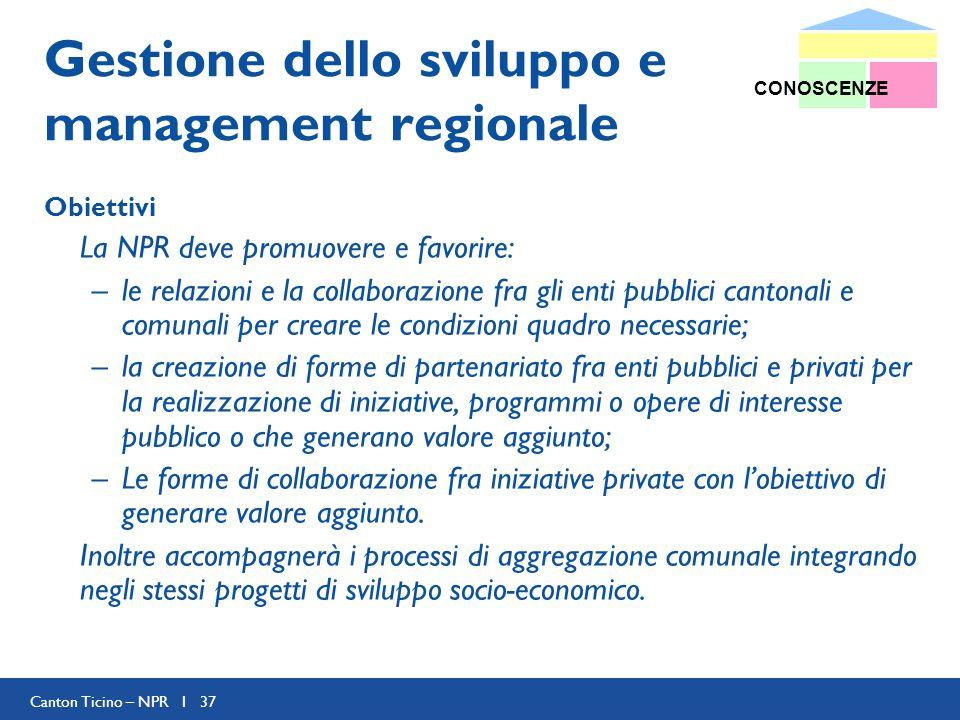 Canton Ticino – NPR I 37 Gestione dello sviluppo e management regionale Obiettivi La NPR deve promuovere e favorire: –le relazioni e la collaborazione
