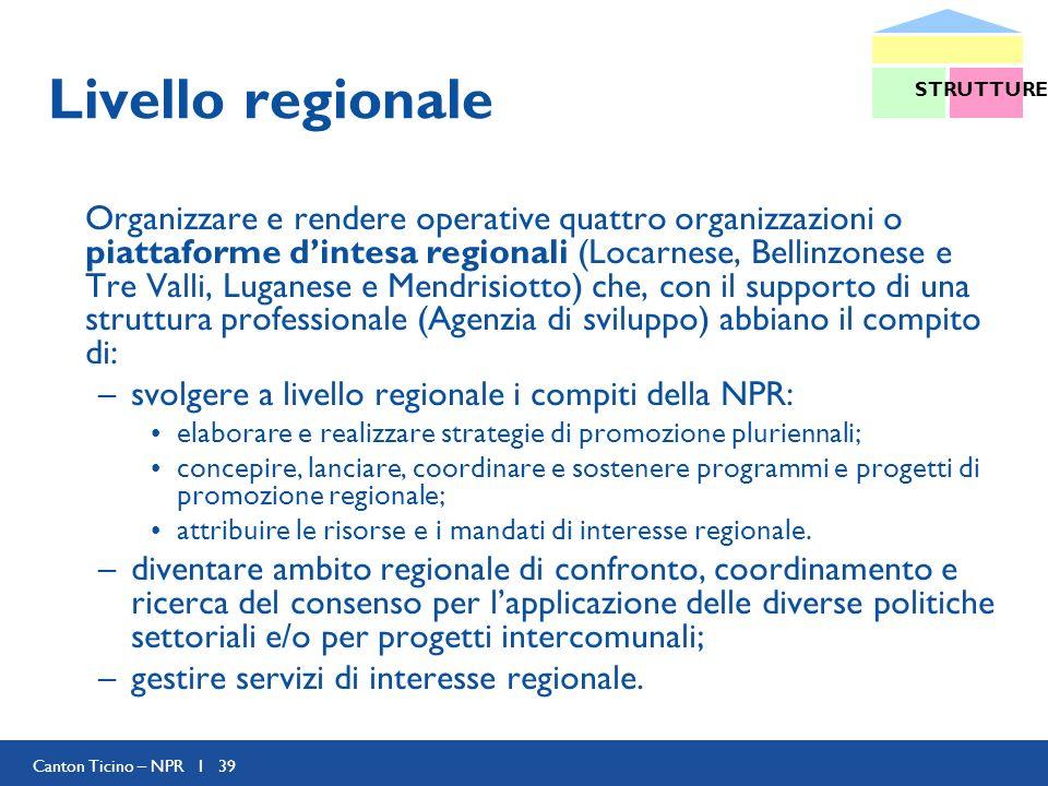 Canton Ticino – NPR I 39 Livello regionale Organizzare e rendere operative quattro organizzazioni o piattaforme dintesa regionali (Locarnese, Bellinzonese e Tre Valli, Luganese e Mendrisiotto) che, con il supporto di una struttura professionale (Agenzia di sviluppo) abbiano il compito di: –svolgere a livello regionale i compiti della NPR: elaborare e realizzare strategie di promozione pluriennali; concepire, lanciare, coordinare e sostenere programmi e progetti di promozione regionale; attribuire le risorse e i mandati di interesse regionale.