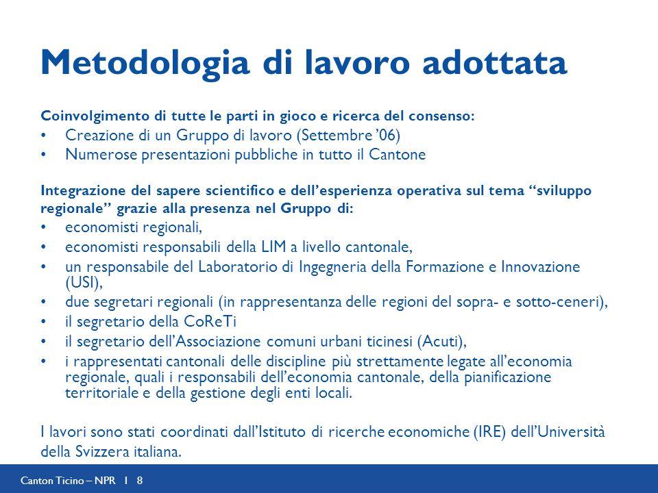 Canton Ticino – NPR I 8 Metodologia di lavoro adottata Coinvolgimento di tutte le parti in gioco e ricerca del consenso: Creazione di un Gruppo di lav