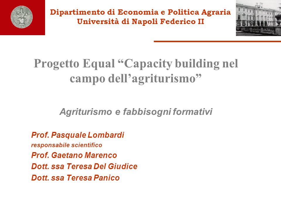 Dipartimento di Economia e Politica Agraria Università di Napoli Federico II Progetto Equal Capacity building nel campo dellagriturismo Agriturismo e