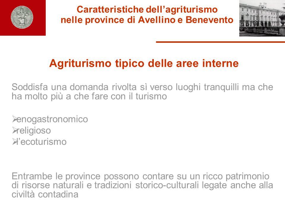 Caratteristiche dellagriturismo nelle province di Avellino e Benevento Agriturismo tipico delle aree interne Soddisfa una domanda rivolta sì verso luo
