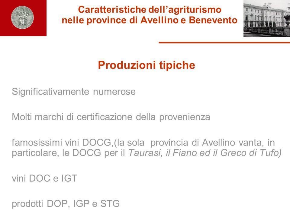 Caratteristiche dellagriturismo nelle province di Avellino e Benevento Produzioni tipiche Significativamente numerose Molti marchi di certificazione d