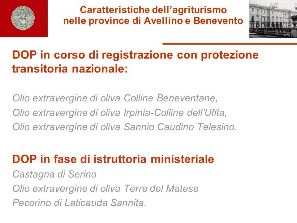 Caratteristiche dellagriturismo nelle province di Avellino e Benevento DOP in corso di registrazione con protezione transitoria nazionale: Olio extrav