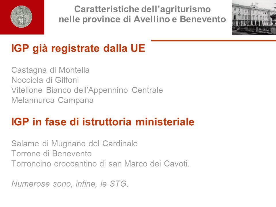 Caratteristiche dellagriturismo nelle province di Avellino e Benevento IGP già registrate dalla UE Castagna di Montella Nocciola di Giffoni Vitellone