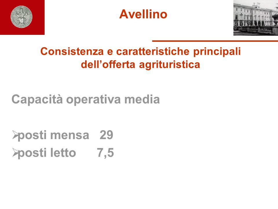 Avellino Consistenza e caratteristiche principali dellofferta agrituristica Capacità operativa media posti mensa 29 posti letto 7,5