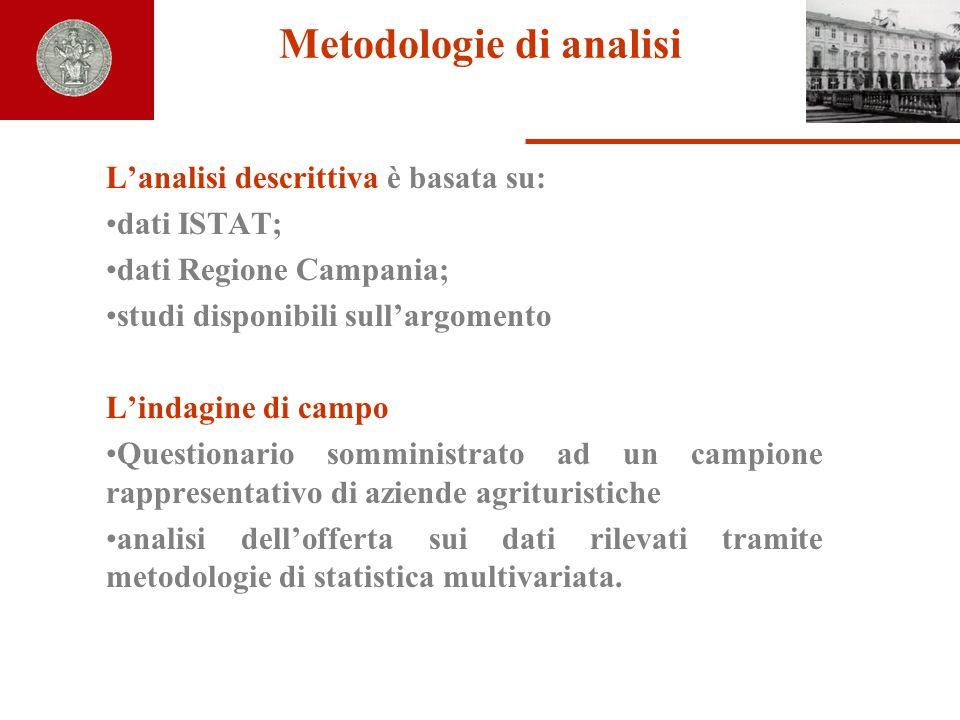 Metodologie di analisi Lanalisi descrittiva è basata su: dati ISTAT; dati Regione Campania; studi disponibili sullargomento Lindagine di campo Questio