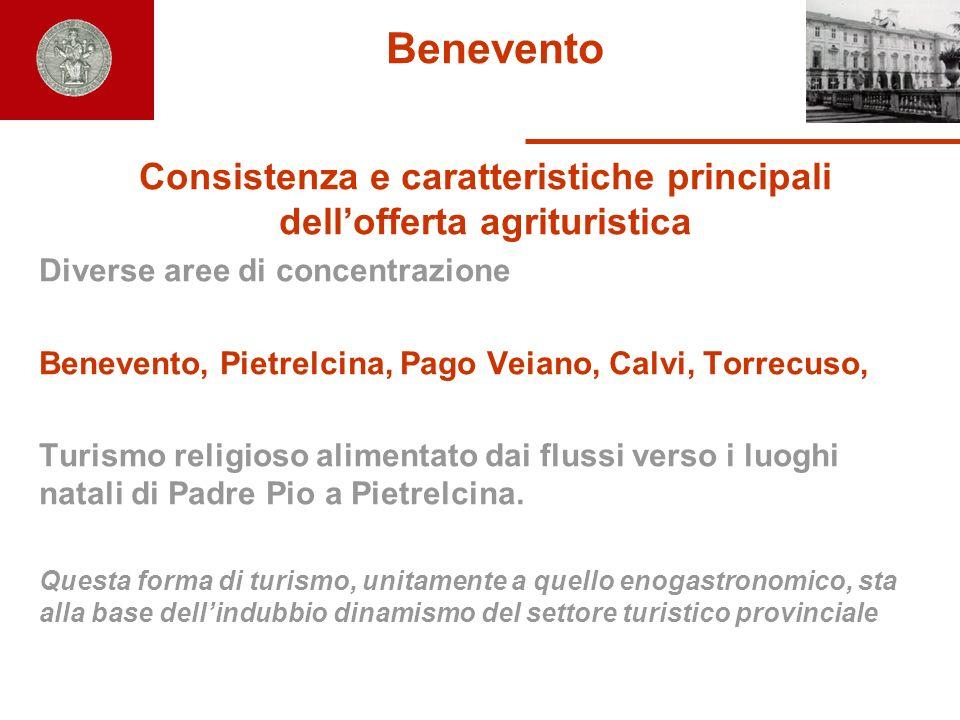 Benevento Consistenza e caratteristiche principali dellofferta agrituristica Diverse aree di concentrazione Benevento, Pietrelcina, Pago Veiano, Calvi