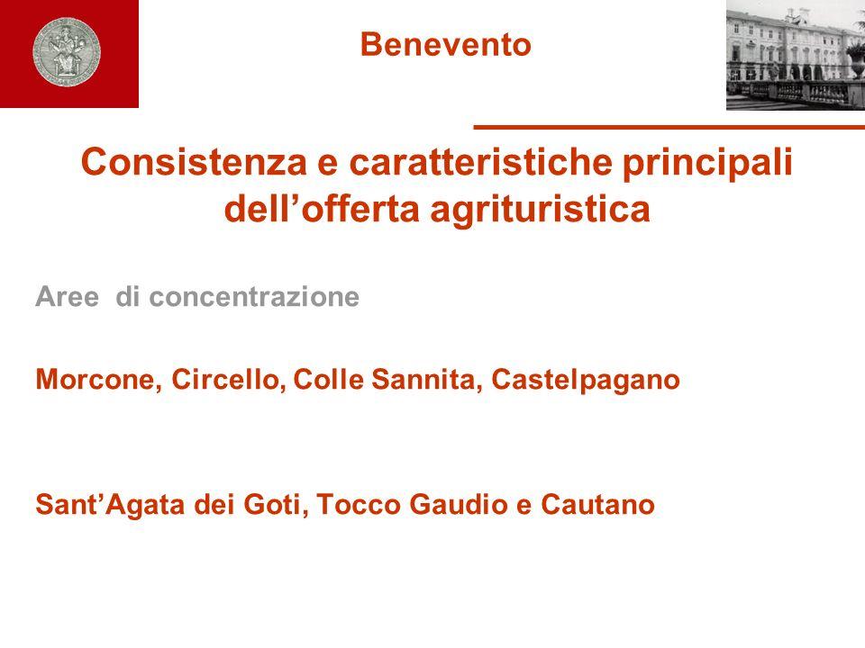 Benevento Consistenza e caratteristiche principali dellofferta agrituristica Aree di concentrazione Morcone, Circello, Colle Sannita, Castelpagano San