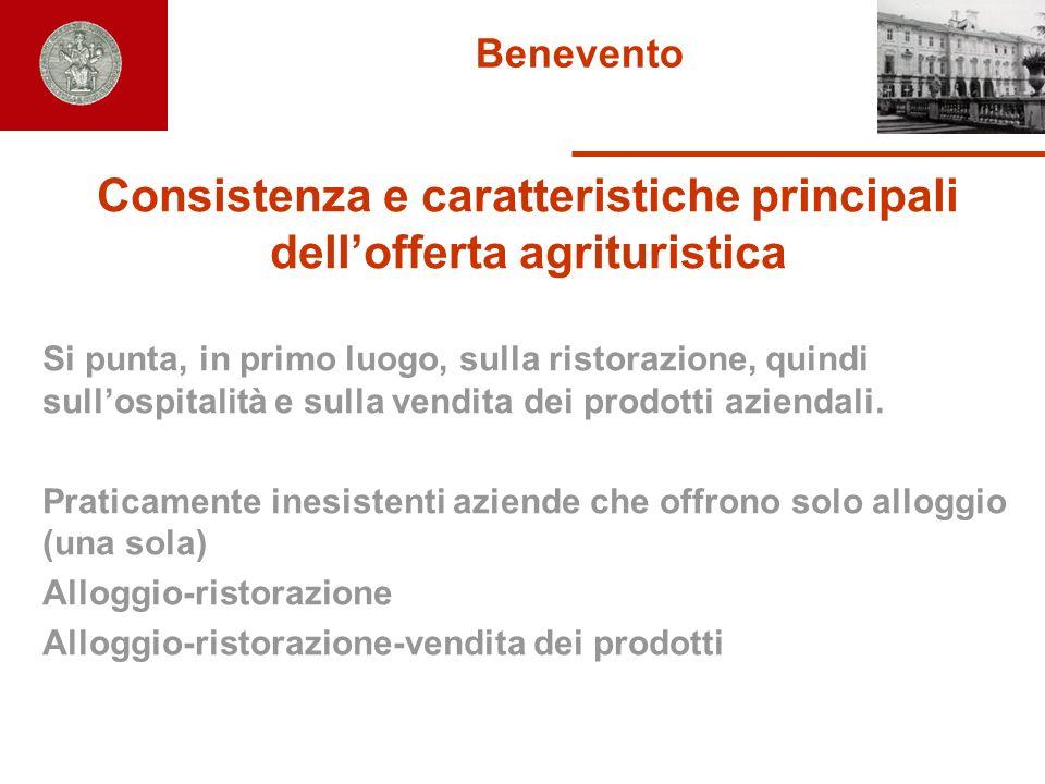 Benevento Consistenza e caratteristiche principali dellofferta agrituristica Si punta, in primo luogo, sulla ristorazione, quindi sullospitalità e sul