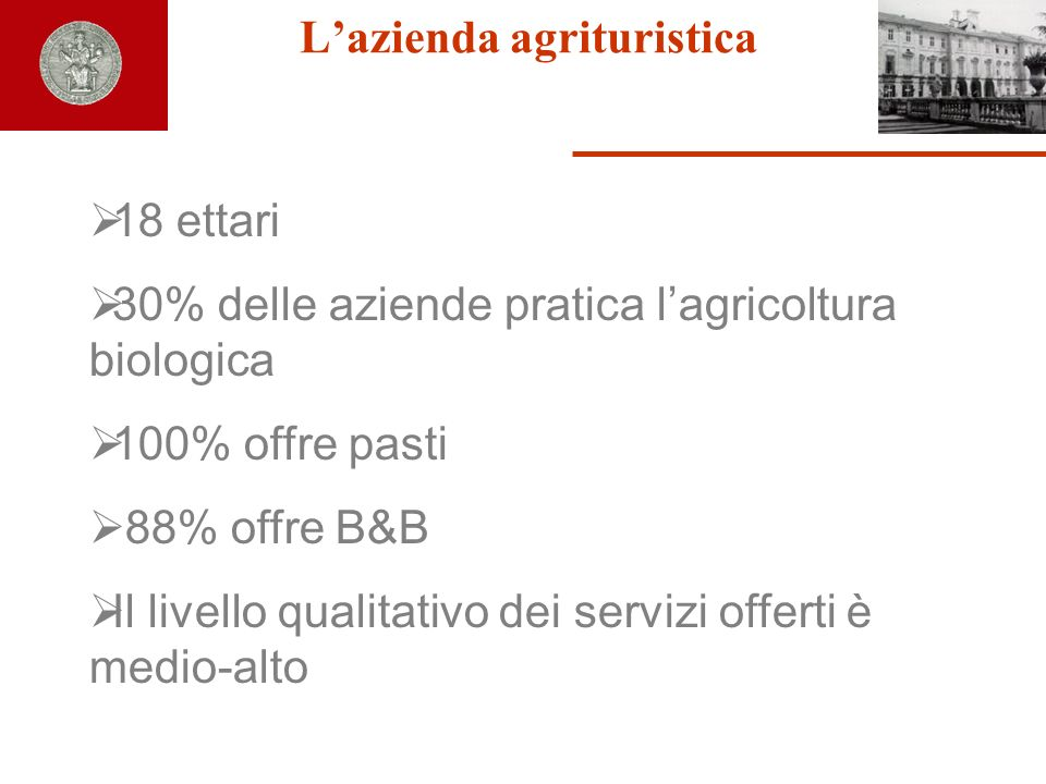 Lazienda agrituristica 18 ettari 30% delle aziende pratica lagricoltura biologica 100% offre pasti 88% offre B&B Il livello qualitativo dei servizi of
