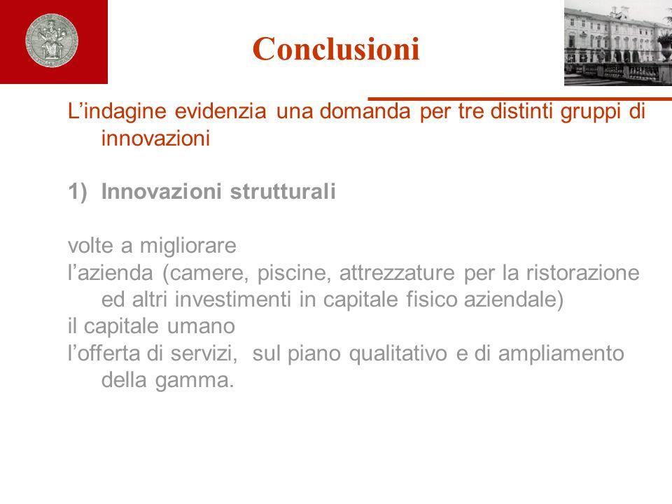 Conclusioni Lindagine evidenzia una domanda per tre distinti gruppi di innovazioni 1)Innovazioni strutturali volte a migliorare lazienda (camere, pisc