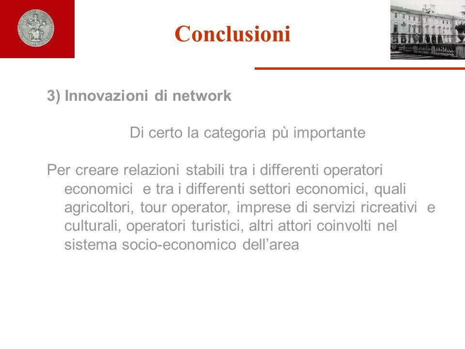 Conclusioni 3) Innovazioni di network Di certo la categoria pù importante Per creare relazioni stabili tra i differenti operatori economici e tra i di