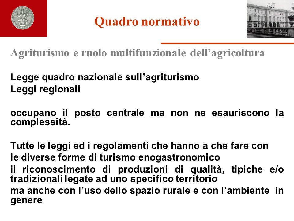 Quadro normativo Agriturismo e ruolo multifunzionale dellagricoltura Legge quadro nazionale sullagriturismo Leggi regionali occupano il posto centrale