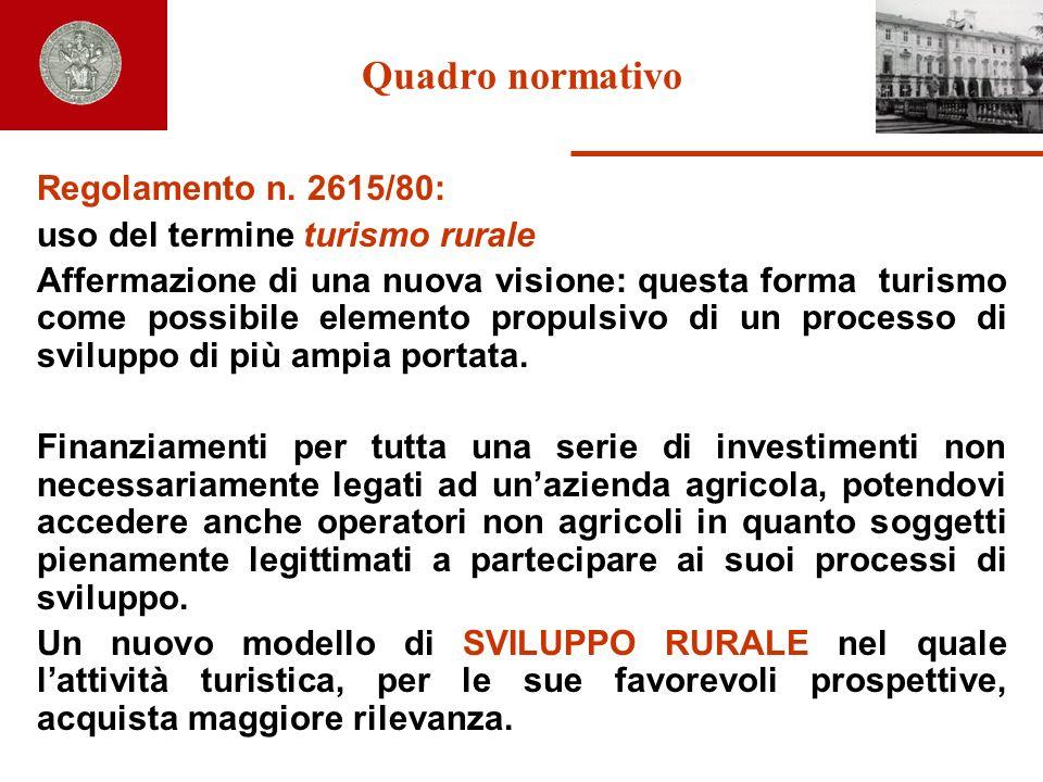 Quadro normativo Regolamento n. 2615/80: uso del termine turismo rurale Affermazione di una nuova visione: questa forma turismo come possibile element