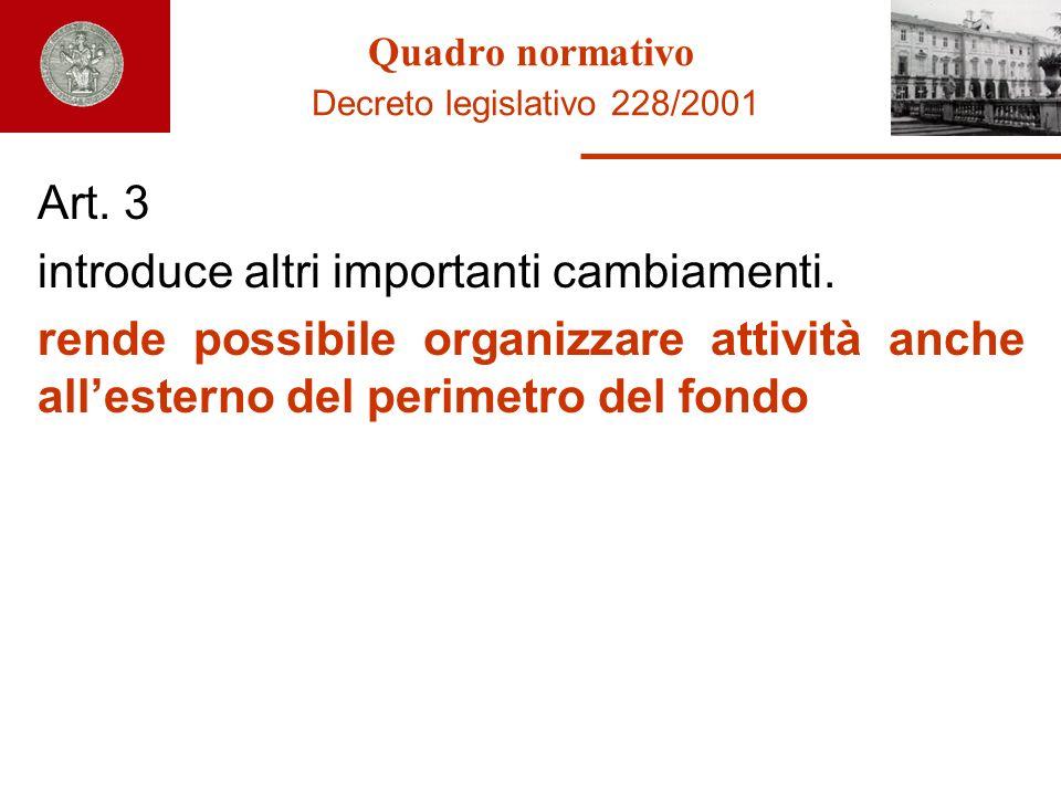 Quadro normativo Decreto legislativo 228/2001 Art. 3 introduce altri importanti cambiamenti. rende possibile organizzare attività anche allesterno del
