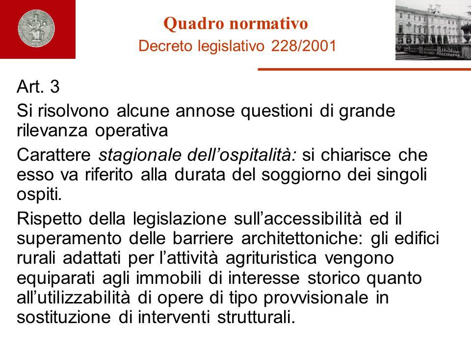 Quadro normativo Decreto legislativo 228/2001 Art. 3 Si risolvono alcune annose questioni di grande rilevanza operativa Carattere stagionale dellospit