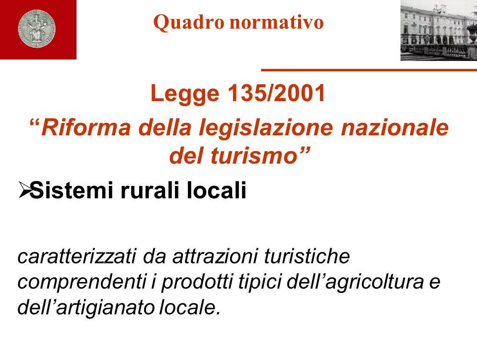 Quadro normativo Legge 135/2001 Riforma della legislazione nazionale del turismo Sistemi rurali locali caratterizzati da attrazioni turistiche compren