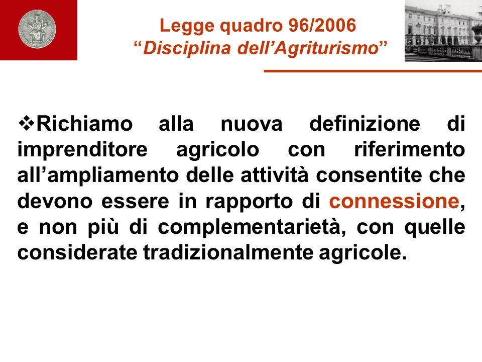 Legge quadro 96/2006 Disciplina dellAgriturismo Richiamo alla nuova definizione di imprenditore agricolo con riferimento allampliamento delle attività