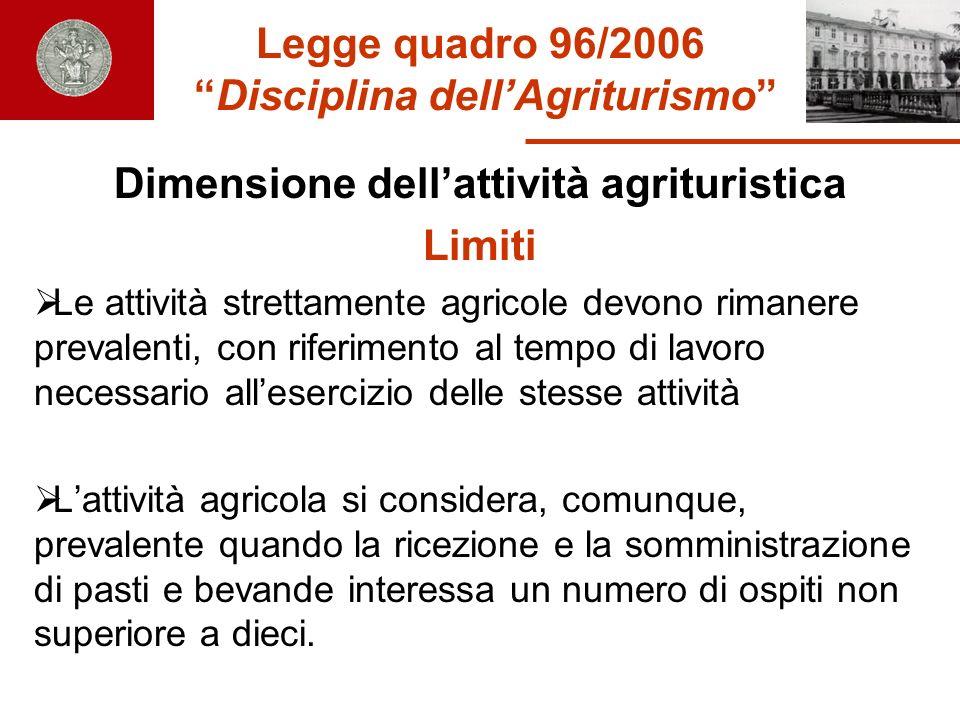 Legge quadro 96/2006 Disciplina dellAgriturismo Dimensione dellattività agrituristica Limiti Le attività strettamente agricole devono rimanere prevale
