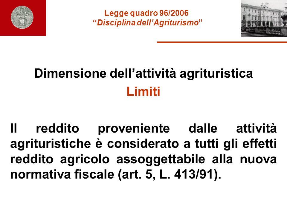 Legge quadro 96/2006 Disciplina dellAgriturismo Dimensione dellattività agrituristica Limiti Il reddito proveniente dalle attività agrituristiche è co