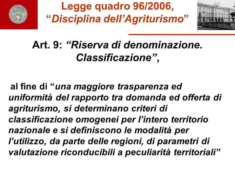 Legge quadro 96/2006,Disciplina dellAgriturismo Art. 9: Riserva di denominazione. Classificazione, al fine di una maggiore trasparenza ed uniformità d