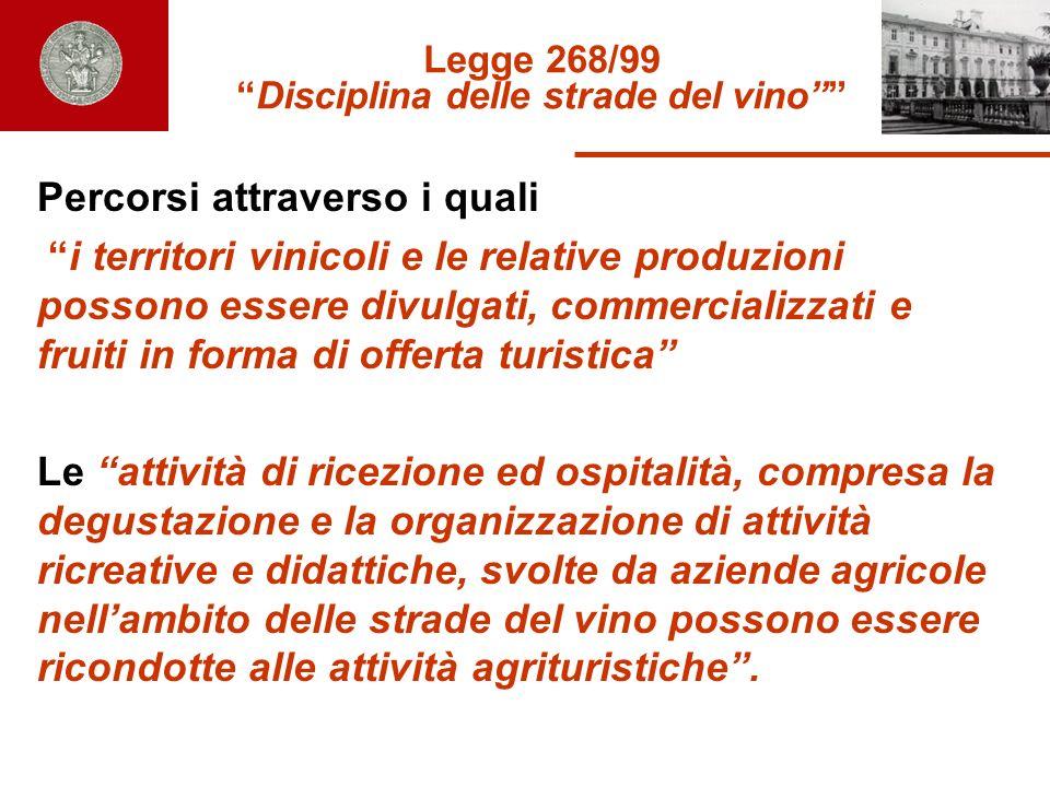 Legge 268/99Disciplina delle strade del vino Percorsi attraverso i quali i territori vinicoli e le relative produzioni possono essere divulgati, comme
