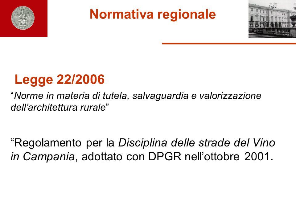 Normativa regionale Legge 22/2006 Norme in materia di tutela, salvaguardia e valorizzazione dellarchitettura rurale Regolamento per la Disciplina dell