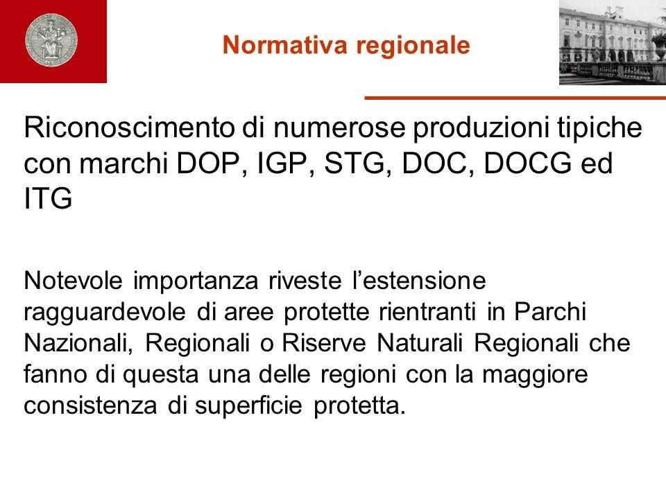 Normativa regionale Riconoscimento di numerose produzioni tipiche con marchi DOP, IGP, STG, DOC, DOCG ed ITG Notevole importanza riveste lestensione r