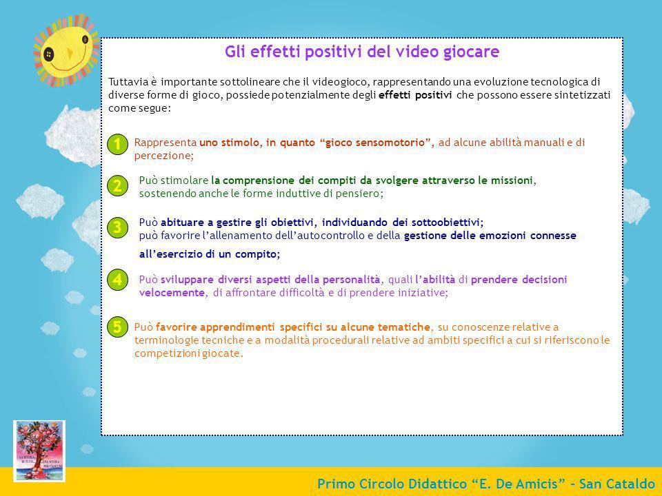 Primo Circolo Didattico E. De Amicis - San Cataldo Gli effetti positivi del video giocare Tuttavia è importante sottolineare che il videogioco, rappre