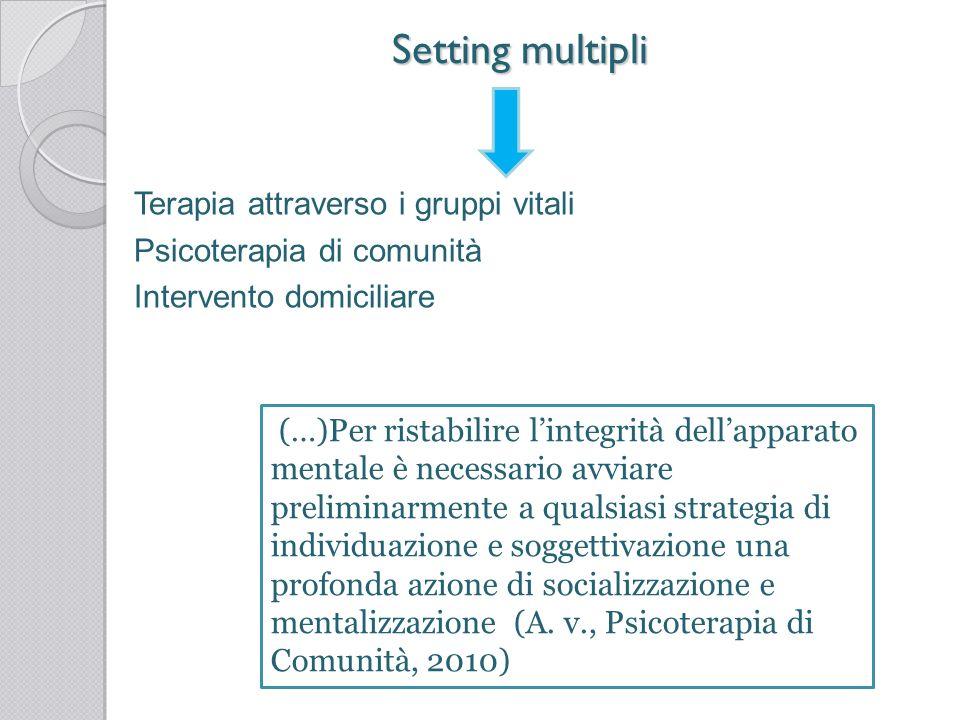 Setting multipli Terapia attraverso i gruppi vitali Psicoterapia di comunità Intervento domiciliare (…)Per ristabilire lintegrità dellapparato mentale