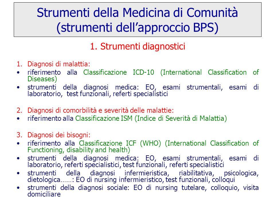 1. Strumenti diagnostici 1.Diagnosi di malattia: riferimento alla Classificazione ICD-10 (International Classification of Diseases) strumenti della di