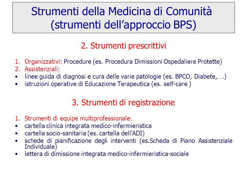 2.Strumenti prescrittivi 1.Organizzativi: Procedure (es.