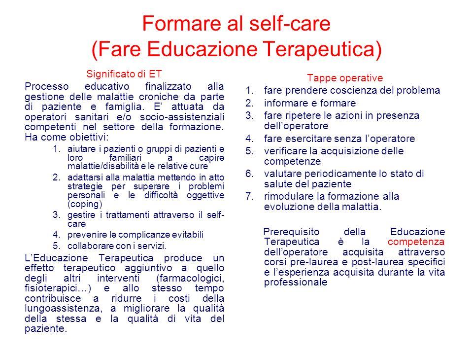 Formare al self-care (Fare Educazione Terapeutica) Significato di ET Processo educativo finalizzato alla gestione delle malattie croniche da parte di paziente e famiglia.