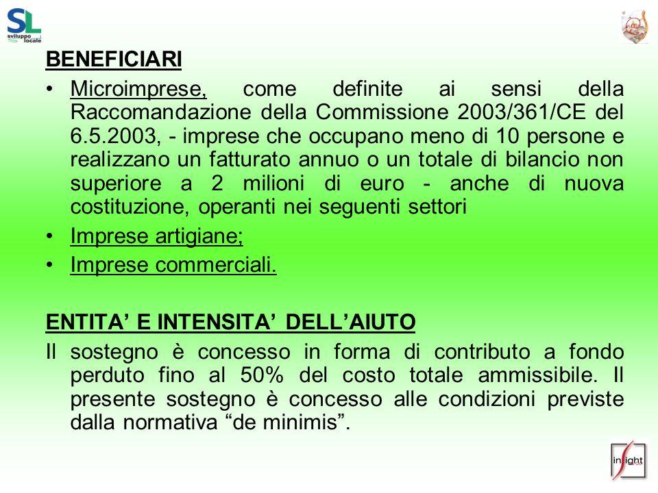 BENEFICIARI Microimprese, come definite ai sensi della Raccomandazione della Commissione 2003/361/CE del 6.5.2003, - imprese che occupano meno di 10 p