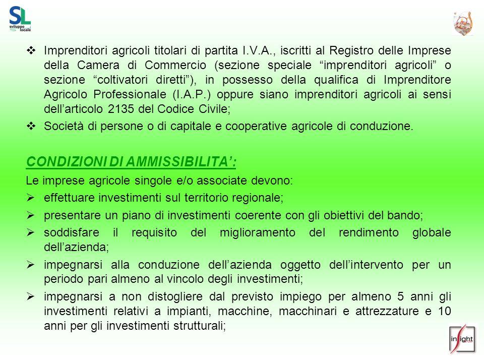 Imprenditori agricoli titolari di partita I.V.A., iscritti al Registro delle Imprese della Camera di Commercio (sezione speciale imprenditori agricoli