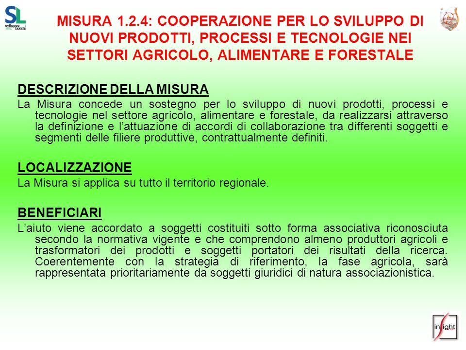MISURA 1.2.4: COOPERAZIONE PER LO SVILUPPO DI NUOVI PRODOTTI, PROCESSI E TECNOLOGIE NEI SETTORI AGRICOLO, ALIMENTARE E FORESTALE DESCRIZIONE DELLA MIS