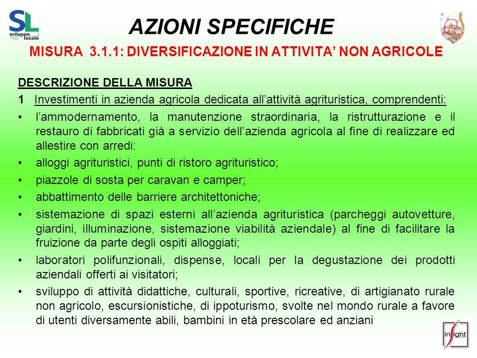 AZIONI SPECIFICHE MISURA 3.1.1: DIVERSIFICAZIONE IN ATTIVITA NON AGRICOLE DESCRIZIONE DELLA MISURA 1 Investimenti in azienda agricola dedicata allatti