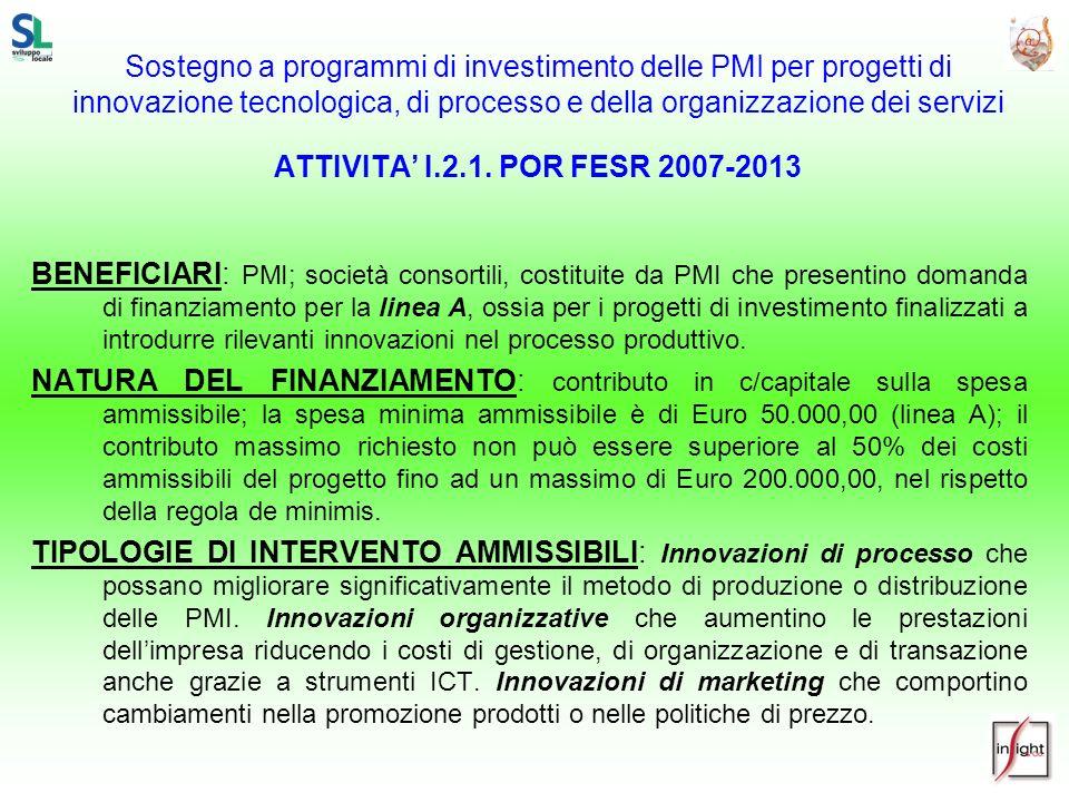 Sostegno a programmi di investimento delle PMI per progetti di innovazione tecnologica, di processo e della organizzazione dei servizi ATTIVITA I.2.1.